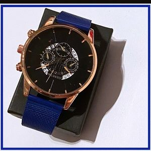 Yellow Gold Blue Mesh Quartz Watch NWT
